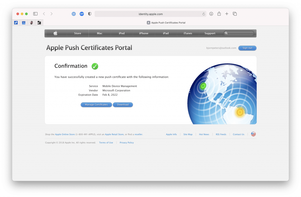 Apple Push Certificates Portal - Download Certificate