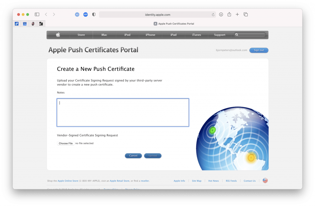 Apple Push Certificates Portal - Upload CSR