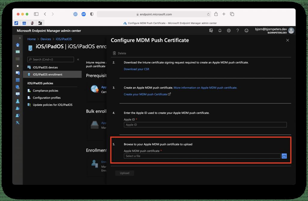 Intune MDM Setup Portal - Upload new certificate